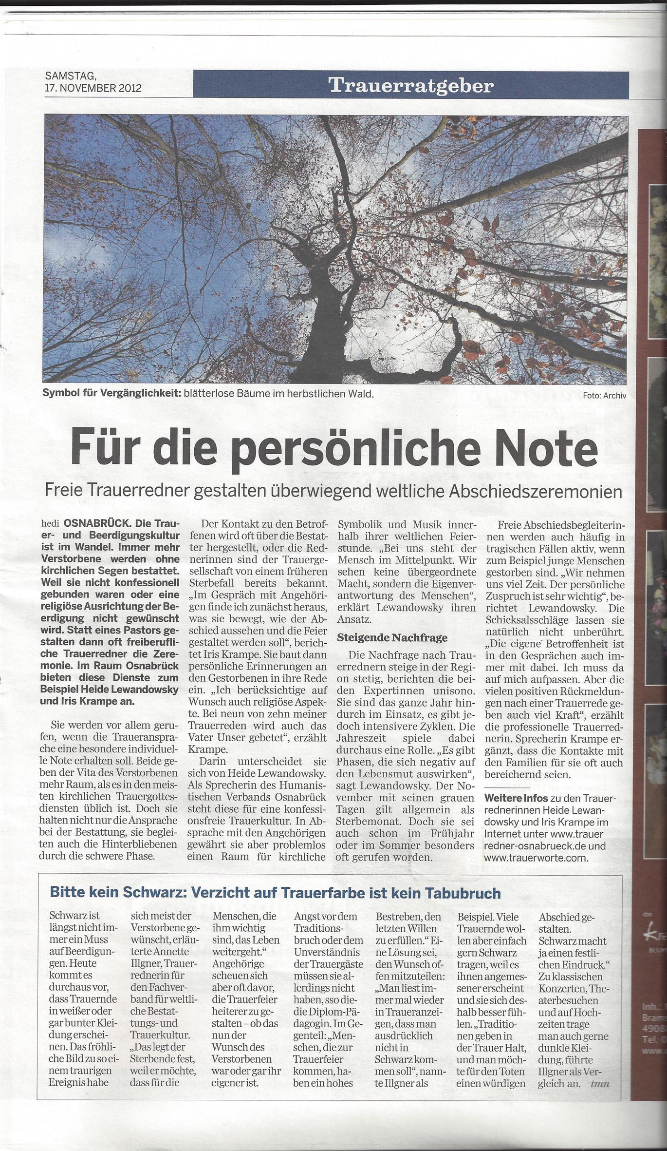 Trauerrednerin Iris Krampe aus Osnabrück